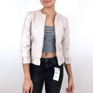 Zara XS cream/pink faux leather jacket ruffles XS
